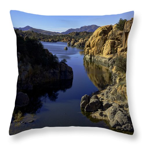 Landscape Throw Pillow featuring the photograph Granite Dells by Mike Herdering
