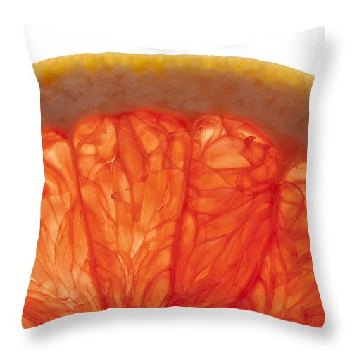 Healthy Throw Pillow featuring the photograph Grapefruit Macro 2 by John Brueske