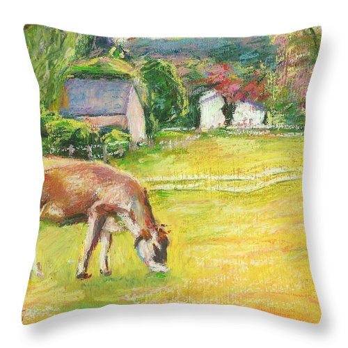 Cow Throw Pillow featuring the painting Grazing Cows by Bethany Bryant