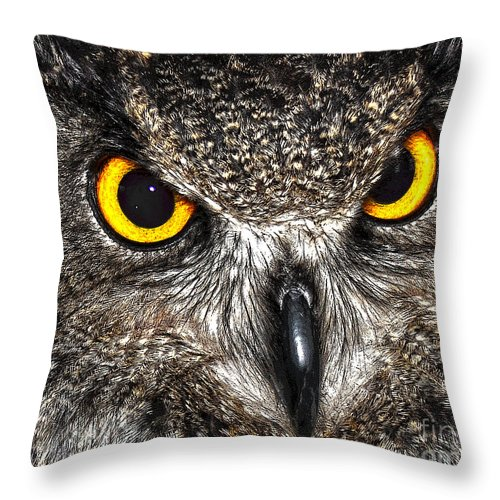 Diane Berry Throw Pillow featuring the drawing Great Horned Owl by Diane E Berry