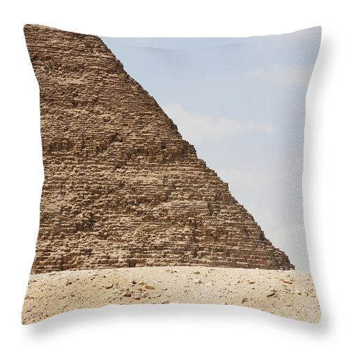 Egypt Throw Pillow featuring the photograph Great Pyramid Of Khufu Cheops And Camel by Peter Langer