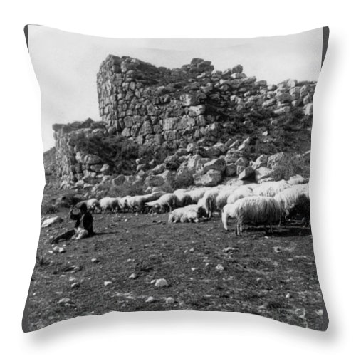 great Tower Of Tiryns Throw Pillow featuring the photograph Great Tower Of Tiryns - Greece - Birthplace Of Hercules by International Images
