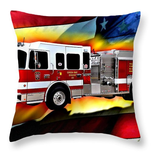 Fire Truck Throw Pillow featuring the digital art Green Bay Engine 411 by Tommy Anderson