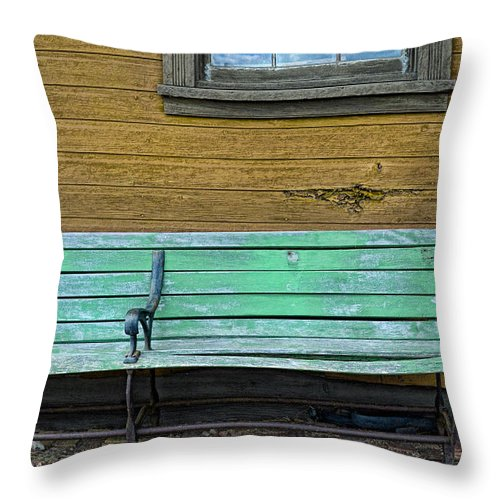 Waiting Throw Pillow featuring the photograph Green Bench At Train Station by Jill Battaglia