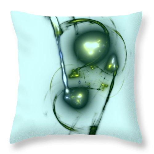 Bubble Bubbles Fractal Fractals Art Modern Color Colorful Light Lights Glowing Wonderful Abstract Bubblegum Gum Green Throw Pillow featuring the digital art Green Bubblegum by Steve K