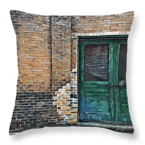 Green Throw Pillow featuring the photograph Green Doors by Frances Hattier