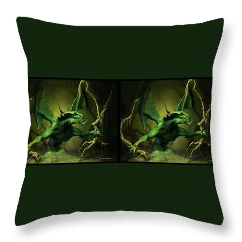 3d Throw Pillow featuring the digital art Green Dragon - Gently Cross Your Eyes And Focus On The Middle Image by Brian Wallace
