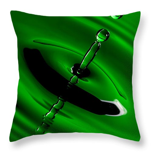 Drop Throw Pillow featuring the photograph Green Drops by Keith Allen