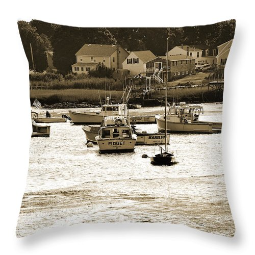 Green Harbor Throw Pillow featuring the photograph Green Harbor At Low Tide by Christine Stonebridge