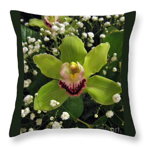 Flower Throw Pillow featuring the photograph Green Orchid In Baby's Breath by Ausra Huntington nee Paulauskaite