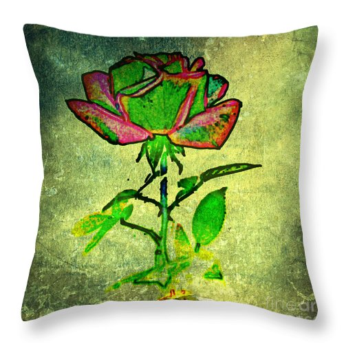Flower Throw Pillow featuring the photograph Green Rose by Leslie Revels