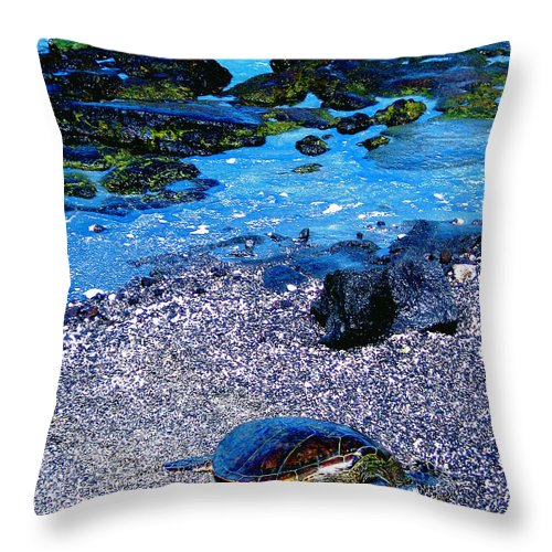 Green Sea Turtle Throw Pillow featuring the photograph Green Sea Turtle Honu by Jerome Stumphauzer