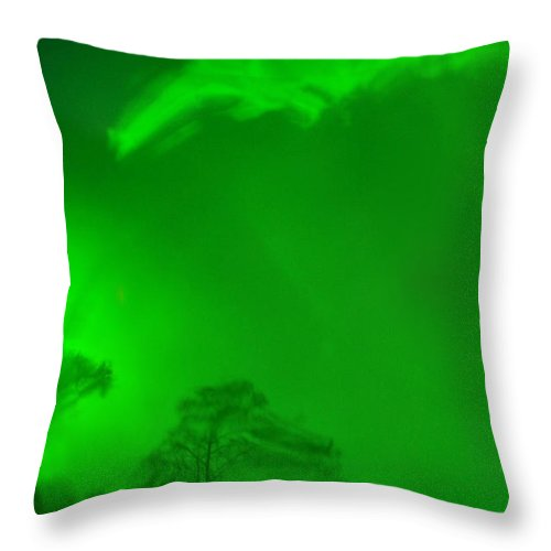 Green Sky Throw Pillow featuring the photograph Green Sky River by Christine Stonebridge