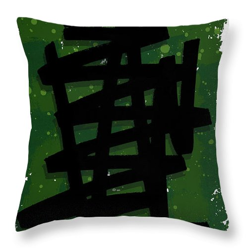 Pop Art Throw Pillow featuring the mixed media Green Stroke by Sid Wellman