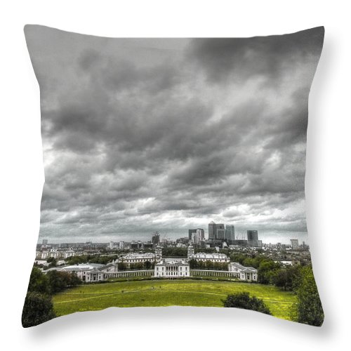Greenwich Throw Pillow featuring the photograph Greenwich And Docklands Hdr by David French