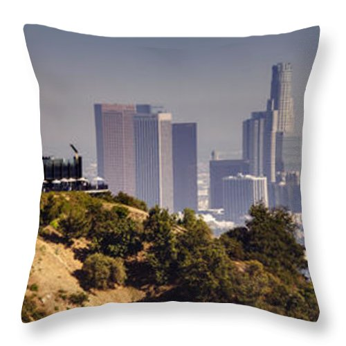 Griffith Throw Pillow featuring the photograph Griffith And Los Angeles by Ricky Barnard