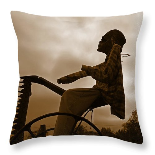 Grim Reaper Throw Pillow featuring the photograph Grim Hay Reaper by John Stephens