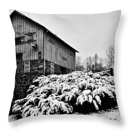 Rachel Cohen Throw Pillow featuring the photograph Grist Mill In Winter - Hdr by Rachel Cohen