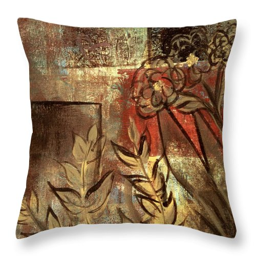 Abstract Throw Pillow featuring the painting Growing Wild by Kathy Sheeran