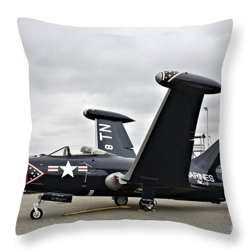 Grumman Throw Pillow featuring the photograph Grumman F9f-5p Panther by Tommy Anderson