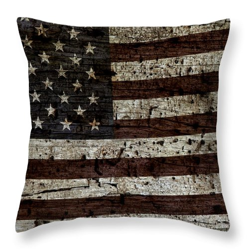 Usa Throw Pillow featuring the photograph Grungy Wooden Textured Usa Flag2 by John Stephens
