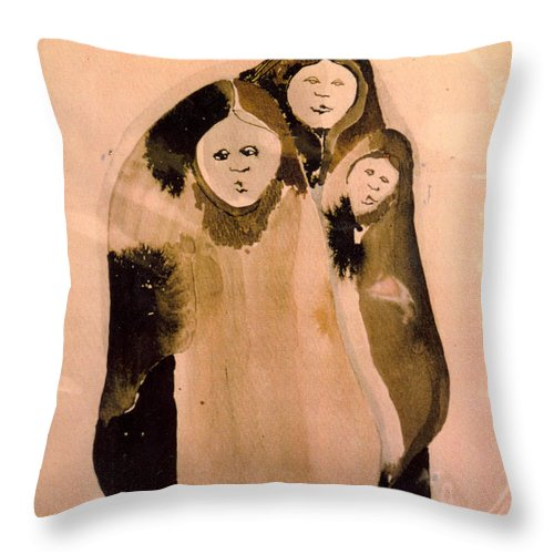 Southwest Throw Pillow featuring the painting Guardian Angels by Dede Shamel Davalos