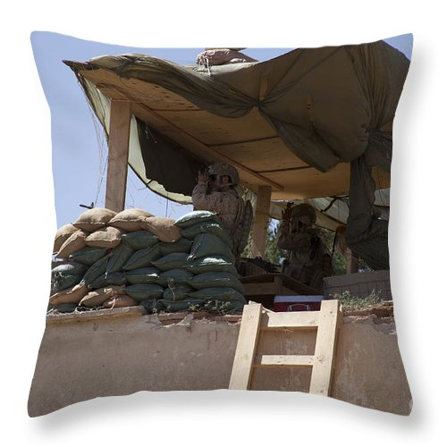 Afghanistan Throw Pillow featuring the photograph Guards From The United Arab Emirates by Stocktrek Images