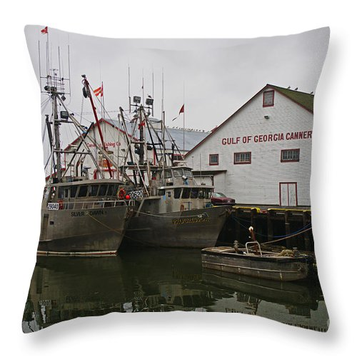 Fishing Boats Throw Pillow featuring the photograph Gulf Of Georgia Co. by Randy Harris