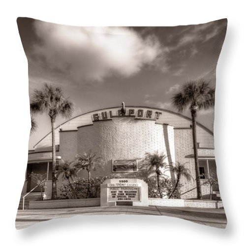 Gulfport Throw Pillow featuring the photograph Gulfport Casino In Sepia by Tammy Wetzel