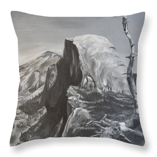 Black And White Painting Throw Pillow featuring the painting Half Dome Tree by Travis Day