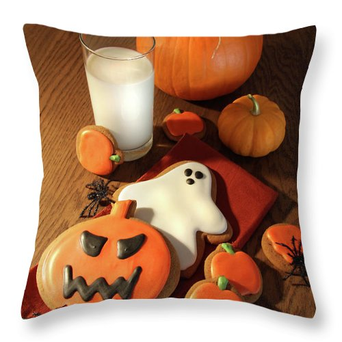 Baked Throw Pillow featuring the photograph Halloween Cookies With A Glass Of Milk by Sandra Cunningham
