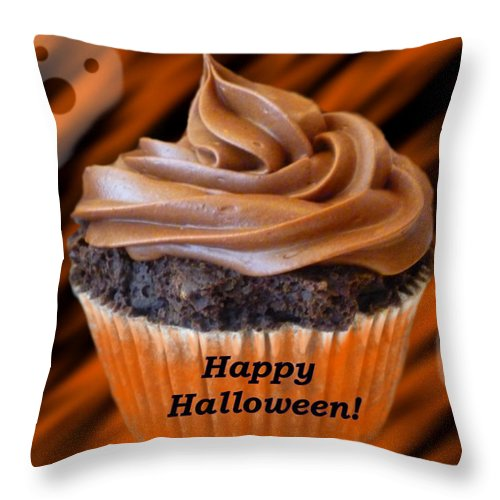 Cupcake Throw Pillow featuring the digital art Halloween Cupcake by Stephanie Campbell