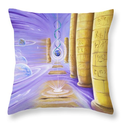 Surealism Throw Pillow featuring the painting Halls Of Creation by Teresa Gostanza