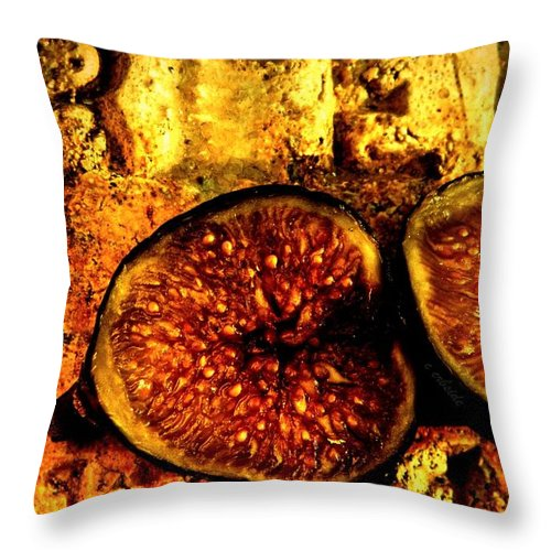 Fig Throw Pillow featuring the photograph Halved Fig by Chris Berry
