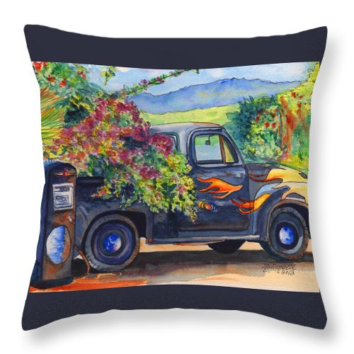 Hanapepe Throw Pillow featuring the painting Hanapepe Truck by Marionette Taboniar