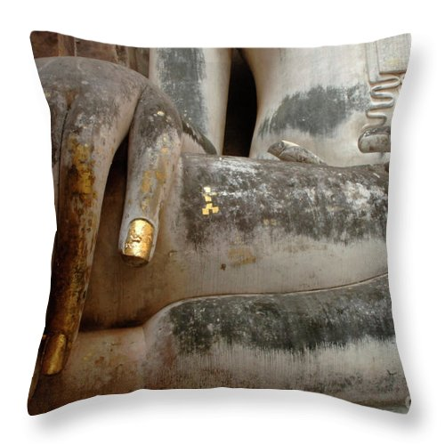 Khmier Throw Pillow featuring the photograph Hand Of Thai Buddha by Bob Christopher