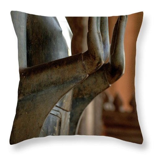 Hands Throw Pillow featuring the photograph Hands Of Buddha by Bob Christopher