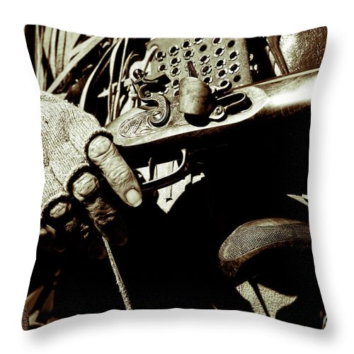 Rifle Throw Pillow featuring the photograph Hands On Rifle by Diego Re