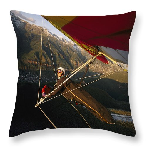 Sports Throw Pillow featuring the photograph Hang Glider Over Telluride, Colorado by Skip Brown