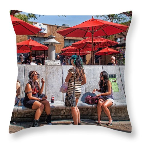 Umbrellas Throw Pillow featuring the photograph Hangin Around by Norma Warden
