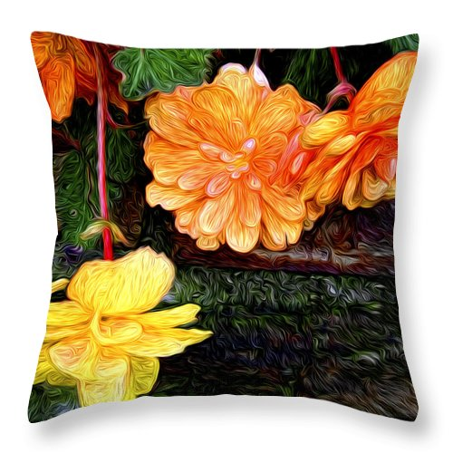 Begonia Throw Pillow featuring the photograph Hanging Begonia by Tammy Wetzel
