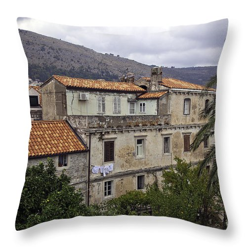 Dubrovnik Throw Pillow featuring the photograph Hanging Out To Dry In Dubrovnik 1 by Madeline Ellis