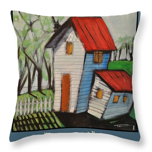White House Throw Pillow featuring the painting Happily Ever After White Picket by Tim Nyberg