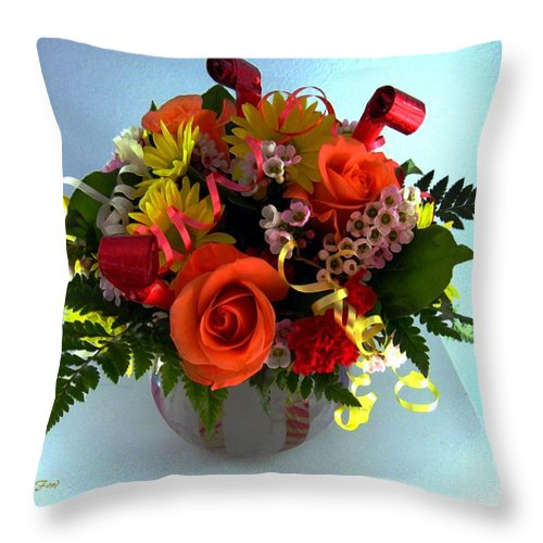 Flowers Throw Pillow featuring the digital art Happy Birthday by Dale  Ford