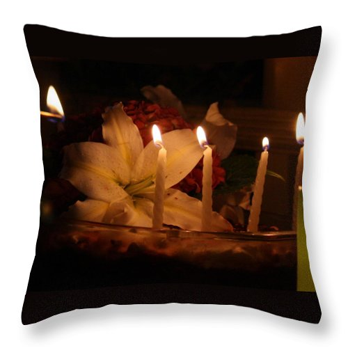 Candles Throw Pillow featuring the photograph Happy Birthday by Donna Walsh