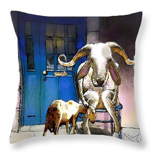 Fun Throw Pillow featuring the painting Happy Eid Son by Miki De Goodaboom