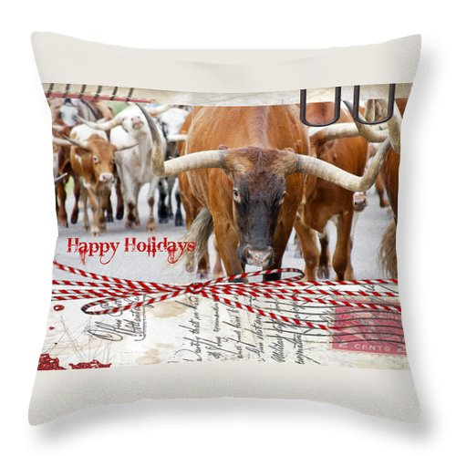 Christmas Throw Pillow featuring the photograph Happy Holidays by Toni Hopper