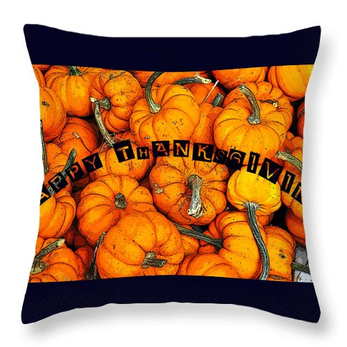 Happy Throw Pillow featuring the painting Happy Thanksgiving Art by David Lee Thompson