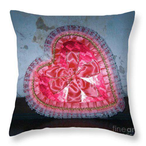 Heart Candy Box Throw Pillow featuring the photograph Happy Valentines Day by Nancy Patterson