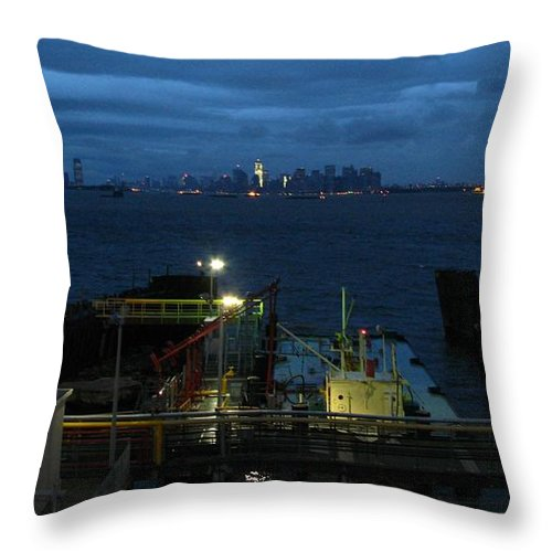 Nyc Throw Pillow featuring the photograph Harbor Morn by Robert McCulloch